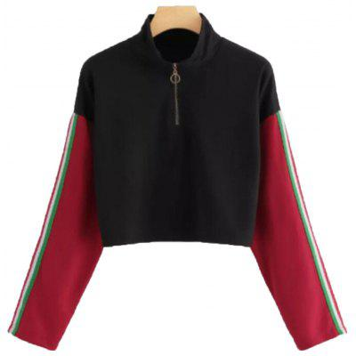 Black Spliced Red Zipper Long Sleeve Sweatehirt