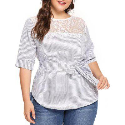 Stripe Splicing Lace Hollow Out Short Sleeve Blouse