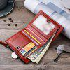 Neutral Zipper Head Layer Cowhide Oil Wax Leather Wallet Purse - RED