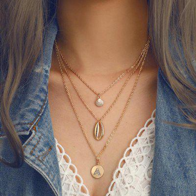 Fashion Metal Shell Conch Studded A Word Women'S Three-Layer Necklace