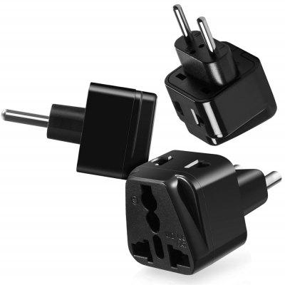 USA to Europe Dual Outlet Travel Power Universal Adapter Wall Converter 3PCS