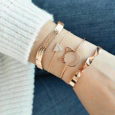 4-PIECE Set Women'S Fashion Cat Ears Twisted Bracelet Diamond Bracelet