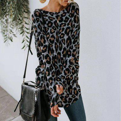Autumn and Winter Sexy Leopard Print Cross-Back Long-Sleeved Blouse