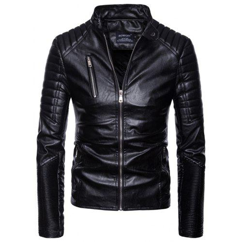 man leather clothing Single color Wrinkle fashion Leisure time Jacket coat  -  59.59 Free Shipping 232100d73fc5f