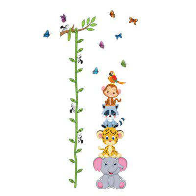 Cartoon AnimalsMonkey Elephant Height Measure Wall Sticker For Kids Rooms Growth