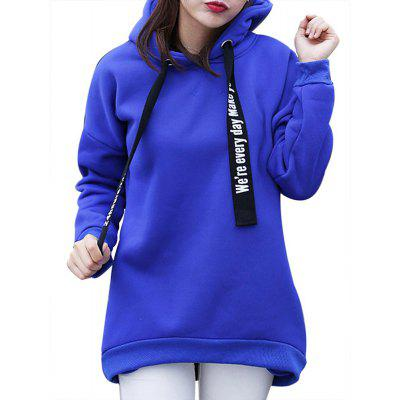 Women'S Plus Size Hoodie Long Sleeve Letters Pattern Solid Color Thicken Hoodie