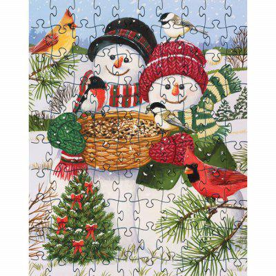 3D Jigsaw Paper Puzzle  Two Snow Man Block Assembly Birthday Toy