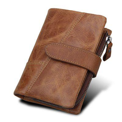 Cowhide Men Wallet Vintage Coin Pocket Purse Genuine Leather Card Holder