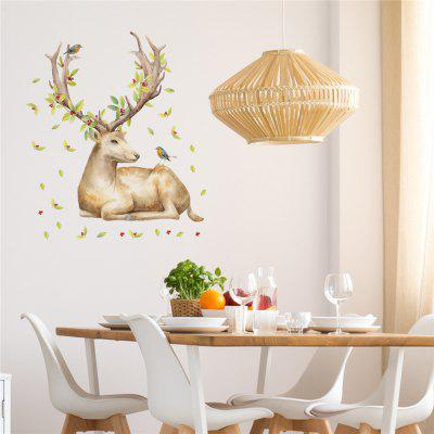 Elf Deer Living Room Sofa Background Green Pvc Wall Stickers Stickers