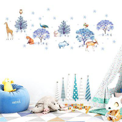 Snowflake Forest Animal Stickers Children'S Room Decoration Painting