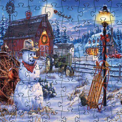 3D Jigsaw Paper White Snow Man  Puzzle Block Assembly Birthday Toy