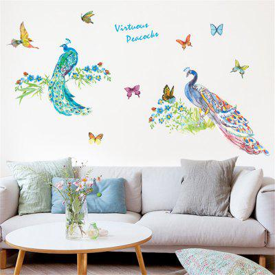 Coloured Peacock Butterfly and Bird Wall Sticker for Living Room Wall Sticker