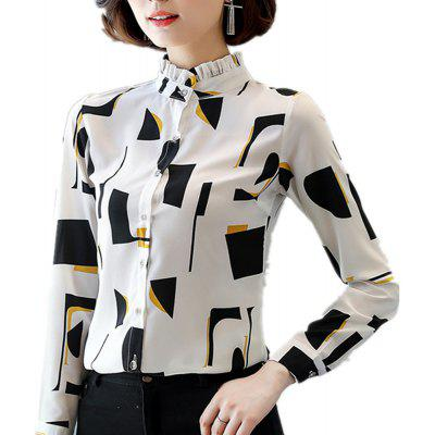 Women's Stand Collar Wild Slim Print Long Sleeve Plus Size OL Chiffon Shirt