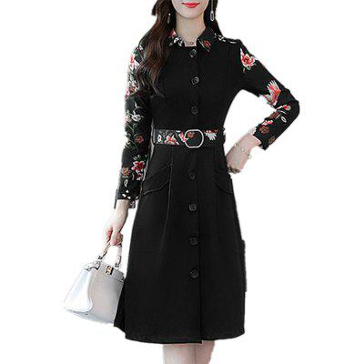 Women'S Aline Dress Print Turn Down Collar Button Dress