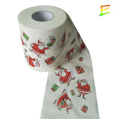 1 Roll of Christmas Cartoon Printing Paper Towel Roll Living Room Napkin 10X10CM