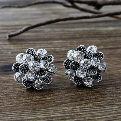 Female Vintage Rose Earrings Crystal Ancient Silver Rock Jewelry