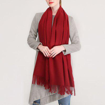 Print Solid Color Simplicity Cashmere Shawl Women New Warm Tassel Scarf