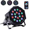 UKing 18W RGB 18 LEDs Par Stage Light with Remote Controller for Disco Party KTV - BLACK