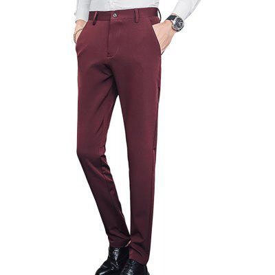 Men's solid color straight stretch slim casual pants