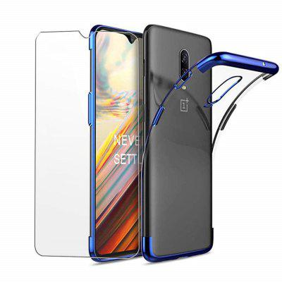Soft Full Plating TPU Cover with Tempered Glass Screen Protector for OnePlus 6T