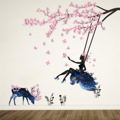 Flower Fairy Children Pink Flowers Elk Wall Stickers Removable Stickers