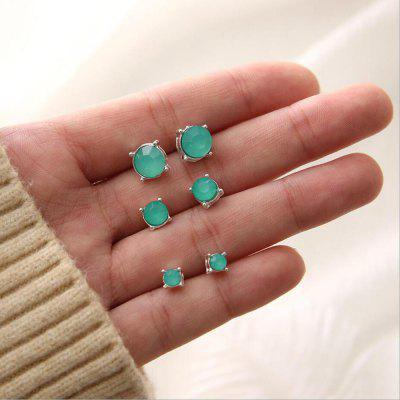 Personality Round Square Geometric Female Earrings Three Pairs of Suits