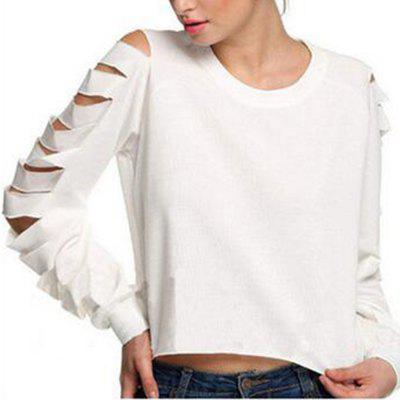 Ripped Long Sleeve European and American T-Shirt