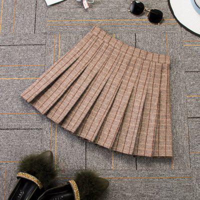 Woolen Plaid High Waist Slim Pleated Skirt Multicolor A-Line Skirt