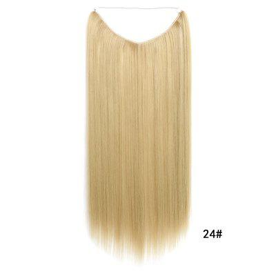 Long Straight Hair Extension Without Clip Fish Line Synthetic Wig