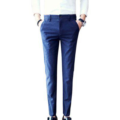 Men's solid color casual straight trousers