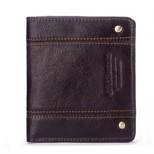 Men Wallet Genuine Leather Cowhide Weaving Casual Holder Money Vintage Fashion