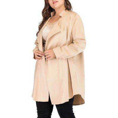 Large Size Women's Lapel Cardigan Long-Sleeved Windbreaker Long Coat