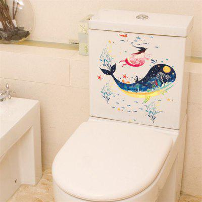 Big Whale Water Grass Girl Toilet Sticker Removable Home decal