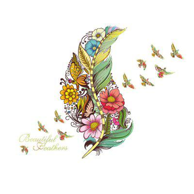 Coloured Feather Butterfly Flower Wall Sticker Removable Home Decoration Sticker
