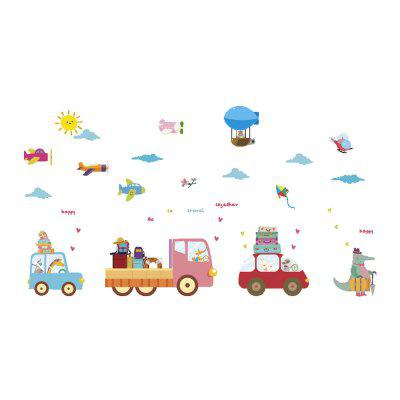 Cartoon Car Wall Sticker Hot-Air Balloon Sticker Household Decoration Removable