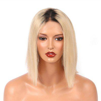 Short Bob Two Tone Black to Blonde Color Human Hair Lace Front Glueless Wig