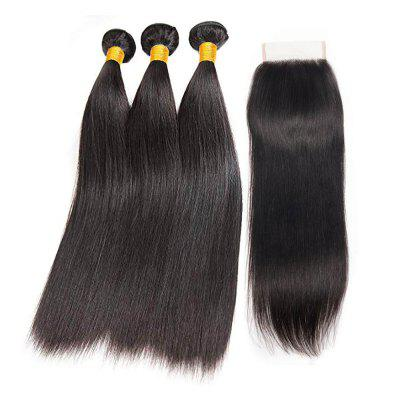 Indian Straight Hair Bundles with Closure 3 Human Hair Bundles with Closure
