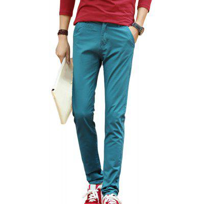Men's Solid Color Slim Straight Casual Trousers