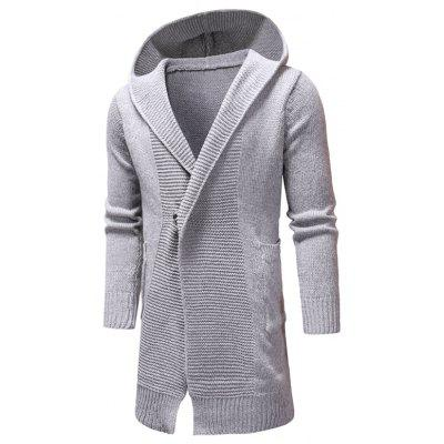 Long-Style Mens Hooded Sweater Cardigan in Winter Fashion