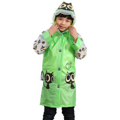 Long Cute Kids Children Raincoat with School Backpack Cover and Cartoon Hoods
