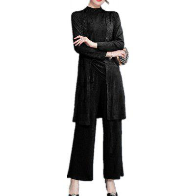Women'S 3PCS Pants Suit Plus Size Solid Color Turtle Neck Top Open Front Cardiga