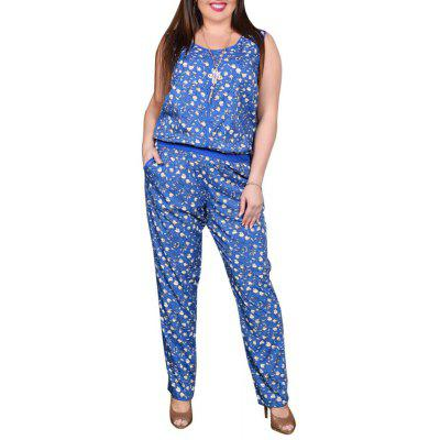 Summer  Vest Style Jumpsuit Fashion Printing Casual Large Size