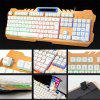K21 USB Wired Metal Office Laptop Game Backlight Rainbow Keyboard - MULTI-A