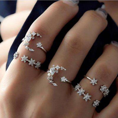 5-PIECE Mulheres Fashion Star e Lua Diamond Set Ring