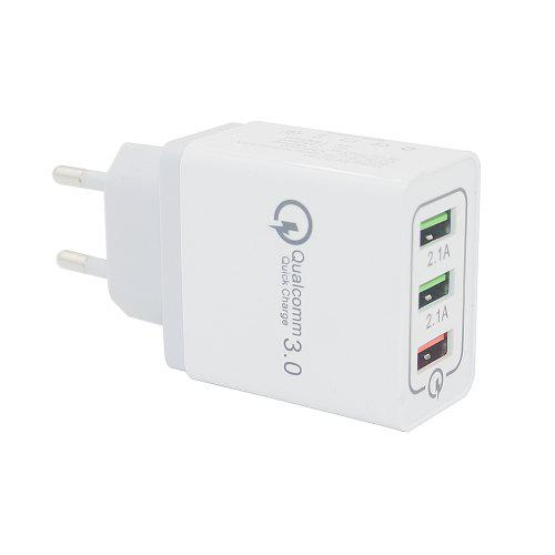 Minismile Quick Charge 3.0 3-Port Power Adapter Wall Fast Charger – White EU Plug 260964201,  | Warehouse: CN-099