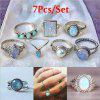 Set of 7 Pieces Women'S Fashion Colored Gem Pearl Ring Suit - SILVER