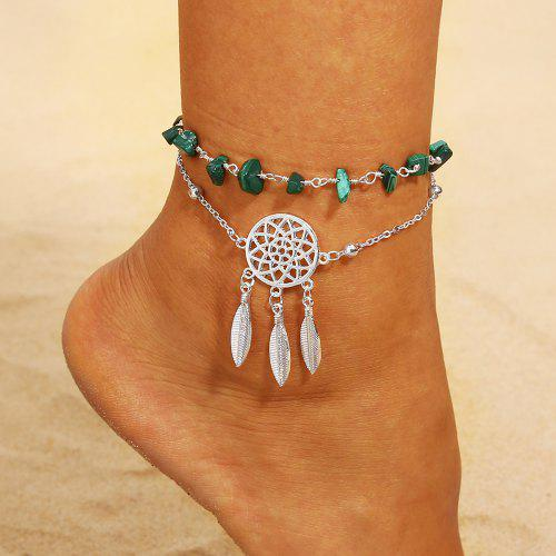 5a81edfdc8fce Hollow Dreamcatcher Irregular Turquoise Anklet Feather Pendant