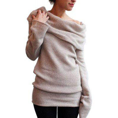 Solid Color Off The Shoulder Fashion Casual Sweater