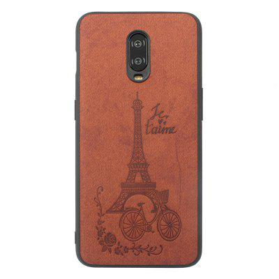 High Quality PU Cloth Fabric Tower Embossing Pattern TPU Case for onePlus 6T