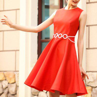 Fashion Pin-Beaded Dress with Round Collar